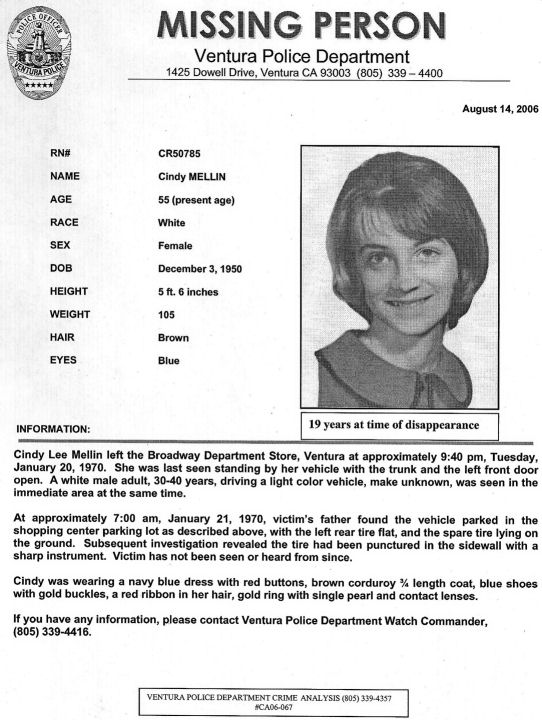 Vulnerable in Ventura; The Case Of Cindy Lee Mellin