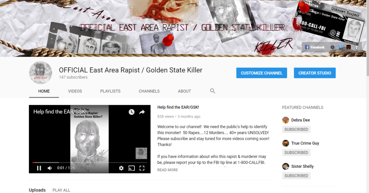 Official YouTube channel of the East Area Rapist / Golden State Killer case